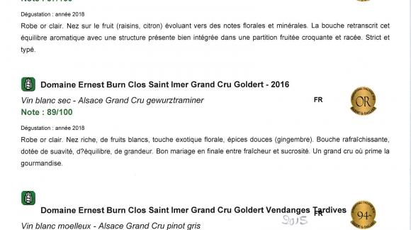 Gilbert et Gaillard : 3 nouvelles Médailles d'Or pour le Clos Saint-Imer