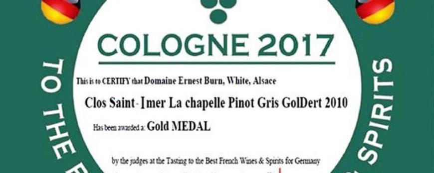 Médaille d'or pour le Pinot Gris Clos Saint-Imer Grand Cru Goldert 2010