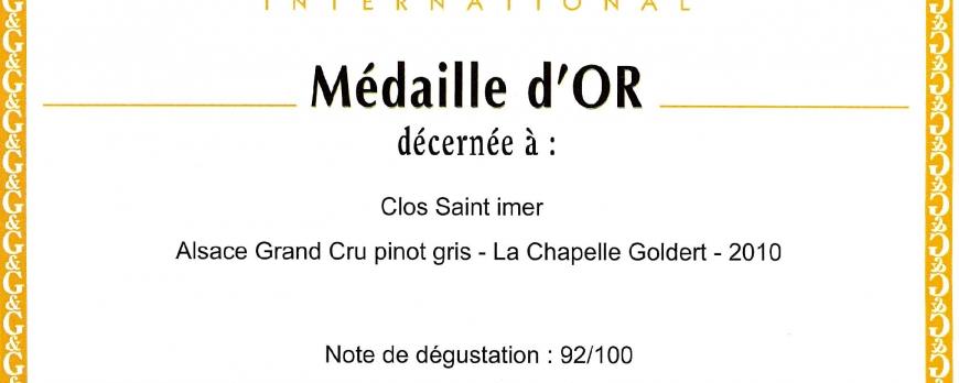 Médaille d'Or pour le Pinot Gris Clos Saint-Imer 2010