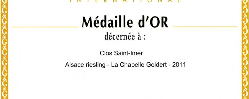 Médaille d'Or pour le Riesling Clos Saint-Imer 2011