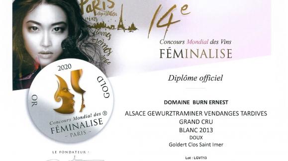 Médaille d'Or et coup de coeur pour notre Gewurztraminer Clos Saint-Imer Vendanges Tardives 2013