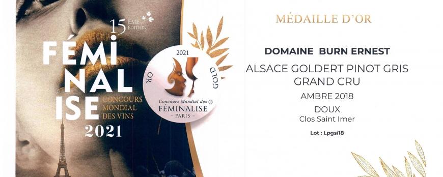 Médaille d'OR pour notre Pinot Gris Clos Saint Imer Grand Cru Goldert 2018