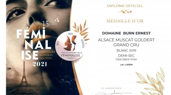 Médaille d'OR pour notre Muscat Clos Saint Imer Grand Cru Goldert 2019