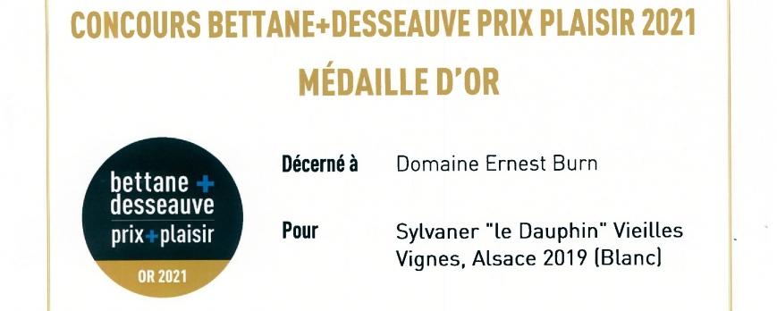 """Médaille d'OR pour notre Sylvaner """"le Dauphin"""" 2019"""