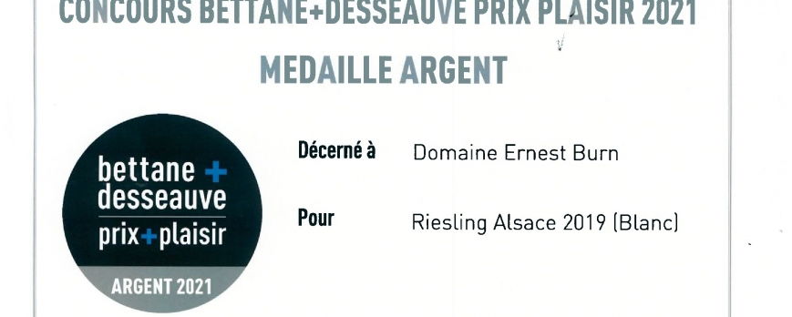 Médaille d'ARGENT pour notre Riesling 2019